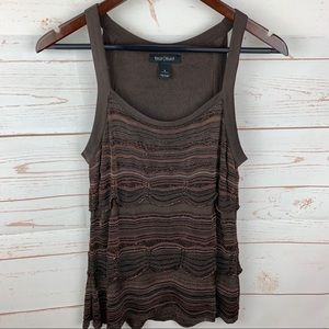 WHBM | Brown Orange Sparkle Crochet Career Tank